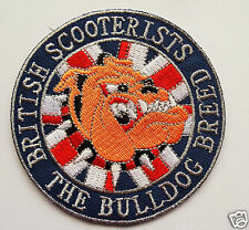 British Scooterists Bulldog Breed Embroidered Sew / Iron on Biker patch Scooter