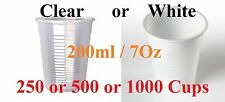 Disposable Plastic Cups Clear White Reusable Drinking Water Cup Party 200ml BULK