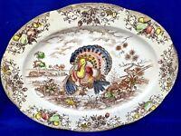 Vintage COLORFUL Turkey Meat Platter Transfer ware Corona Brand 14/18.5 ❤️m13