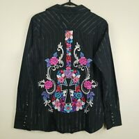 Panhandle Slim Women's Floral Embroidered Western Rodeo Snap Shirt Top NWT Large