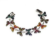 "BRACELET 7 1/2"" Long Multi Colored Enamel Butterfly FLYING BUTTERFLIES"