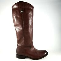 Frye Melissa Button Tall Riding Boots SZ Womens Leather Redwood Brown Horseback