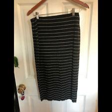 Old Navy knit stretch black white striped pencil skirt S