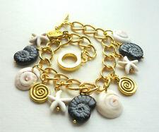 BRACELET Starfish Shell Black Glass Cream Howlite Gold Plated Chain Link  KC2214