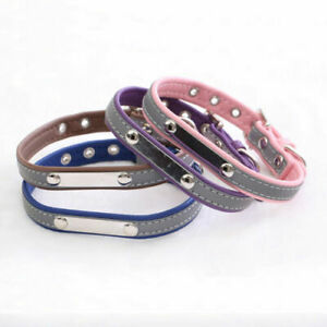 Personalized Reflective Leather Dog Collar XS S M L XXL