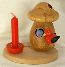 MULLER Olbernhau Wood Smoker-Mushroom/Birds Incense/Candle-Erzgebirge Germany