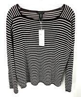 Eileen Fisher Womens Medium Top Seamless Sleek Tencel Stripe Brown Relaxed NWT