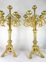 """22"""" Large Pair French Antique Candlestick Bronze Candelabra 1880 Church Altar"""