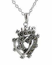 Marcasite Luckenbooth Necklace - 925 Sterling Silver - Two Hearts Crown Scottish