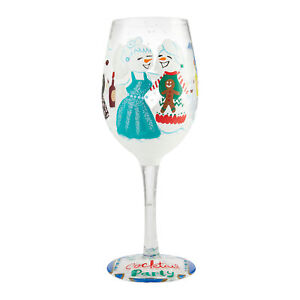 Enesco Designs by Lolita Holiday Cocktail Party Hand-Painted Artisan Wine Glass