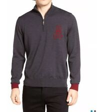 NWT Psycho Bunny Men's Quarter Zip Merino Wool Pullover Size 5/M