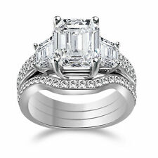 Simulated Diamond Solitaire with Accents Matching Band Ring .925 Sterling Silver