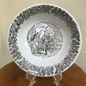 "Staffordshire Dickens ""Oliver Asks for More"" Soup Bowl - Ironstone Broadhurst"