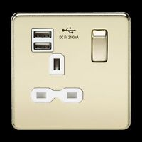 SCREWLESS 13A 1G SWITCHED SOCKET DUAL USB CHARGER - POLISHED BRASS WHITE INSERT