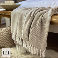 Eco Friendly Cotton Neutral Linen Beige Large Herringbone Sofa Throw Blanket