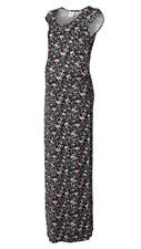 Mamalicious Black & Pink Floral Jersey Maternity Maxi Dress Size M - UK 10