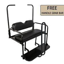 Rear Flip seat kit for EZGO Golf Cart Medalist/TXT model (Black) with Grab Bar