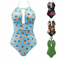 Womens one Piece Swimwear Halter Printed Swimsuits Backless Tummy Control Cute