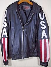 Lucky Leather Co. Black Leather Jacket USA American Flag Stars Stripes Men's L