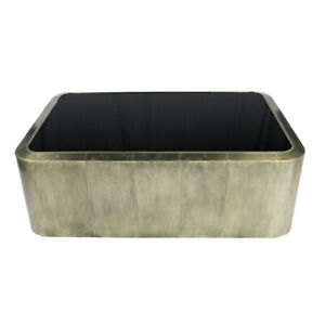 """54"""" L Coffee Table Contemporary Inset Black Glass Top Silver Clad Metal"""