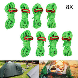 8Pcs 4m Guy Rope Reflective Cord Lines With Runners Tent Camping Guide UK
