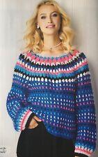 CROCHET PATTERN Ladies Christmas Jumper Oversized Sweater Striped Yoke Aran