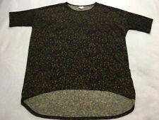Lularoe XL Extra Large Black Green Orange Watercolor Floral Irma Tunic Shirt Top