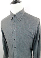 HAUPT Men's Long Sleeve Button Down Plaid Dress Shirt Gray Green Checks sz L