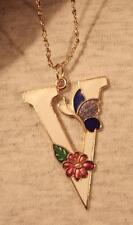 """Lovely White Enamel Finish """"V"""" Shape Cloisonne Butterfly Flower Pendant Necklace"""