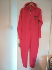 Lipsy Pink Hooded  Suit  Pyjamas Size M 10/12 100% Cotton