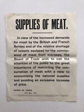 More details for 1915 poster butchers supplies of meat war effort wwi