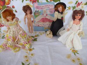 4 Vtg Hard Plastic Dolls & Lingerie Lou Dress 16 pg  Knit Crochet Pattern Book