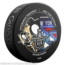 2014 NEW YORK RANGERS VS. PITTSBURGH PENGUINS STANLEY CUP PLAYOFFS SOUVENIR PUCK