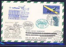 """52911) LH FF Frankfurt - Kapstadt 27.10.92, Karte Taufe """"STRALSUND"""" 1 >"""