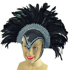 LUSH BLACK PLUME Lucente #helmet con gioiello adulto Fancy Party Accessorio