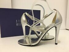 Stuart Weitzman Bridal Evening Surreal Silver Rhinestone Leather Heel Sandals 7