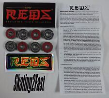 Qty 8 New Bones Reds 8mm Bearings 608 Skate Jam Speed Roller Derdy Skateboarding