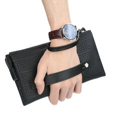 Multi-function Mens Leather Clutch Wallet Business Zipper Card Checkbook Handbag