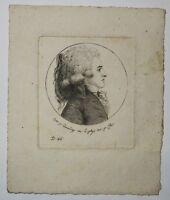 Portrait de ETCHEGOYEN gravé au PHYSIONOTRACE d'après QUENEDEY Basque 19ème