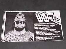 WWF WWE HASBRO MACHO MAN RANDY SAVAGE #3 BIO CARD cut out for Wrestling Figure