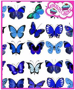 30 X PRETTY  BLUE MIX BUTTERFLIES BIRTHDAY WEDDING EDIBLE CUPCAKE TOPPERS M66