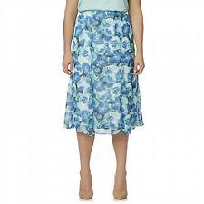 f662addbd5560a Laura Scott Women's Plus Size Spring Chiffon Skirt Elastic Waist Blue Rose  1X