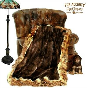 Wolf, Coyote Border Brown Throw Blanket, Bedspread, Fine Faux Fur, Minky Lining