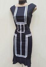 KAREN MILLEN Classic Black Cotton Pleat Cocktail Wiggle Dress 12 UK belt missing
