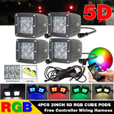 "4x 3"" 5D RGB LED Work Light Spot Fog Driving Pods & Bluetooth Wiring Harness Kit"