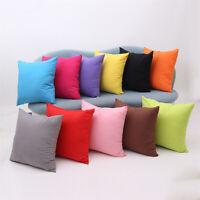 "Soft Solid Colour Sofa Throw Cushion Cover Pillow Case Home Car Decor 18"" x 18"""
