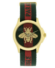 Gucci Le Marche Des Merveilles PVD Gold Steel Red Green Nylon Watch YA126487