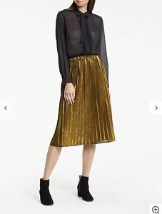 GREAT PLAINS Gold Metallic Pia Pleat Skirt Size UK12 Medium *LOVELY*