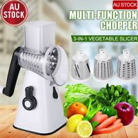 Kitchen Multifunction Vegetable Food Manual Rotary Drum Grater Chopper Slicer AU