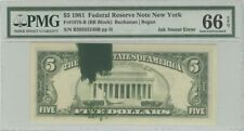1981 $5 FRN PMG 66 EPQ Ink Smear Error Gem Uncirculated New York